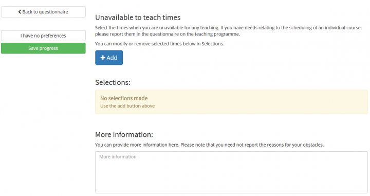 Image showing Unavailable to Teach Times section.