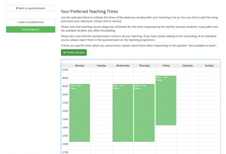 Image showing Preferred Teaching Times section with several times selected.